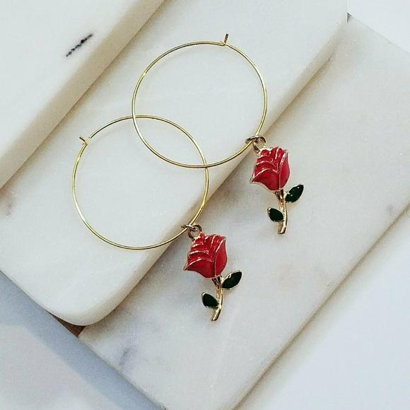 c1b32e9f5 Jewelry | Rose Hoop Earrings Earrings With Roses Roses | Poshmark